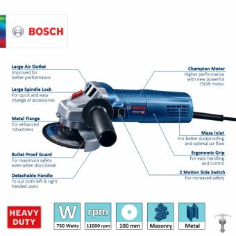 Bosch GWS 750-100 Professional Angle Grinder with Bonded Abrasive & Carbon Brush Set Power Tool - 2