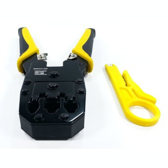 BOSI Tools Professional Grade Modular Plug Crimping Tool 4P 6P 8PWith BUNDLED Wire Stripper Tool (Black/Yellow)
