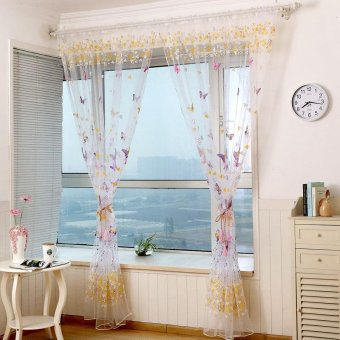 Butterfly Print Pattern Window Voile Curtains For Girls Bed Room 2Colors 100 *200 CM Valances Tulle Drapes Curtains - intl Price Philippines