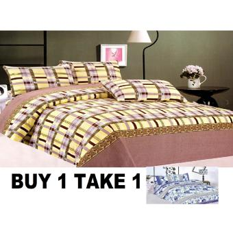 BUY 1 TAKE 1 3-Piece Queen Size Bedding with Luxury Cotton Feel-Balinese Serenity and Blue Floral Series by Manhattan Homemaker