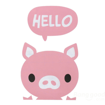 Buytra Switch Sticker Hello Little Pig Removable Wall Decor