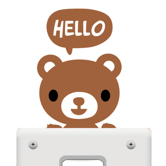 Buytra Switch Sticker Removable Hello Small Bear Wall Decor