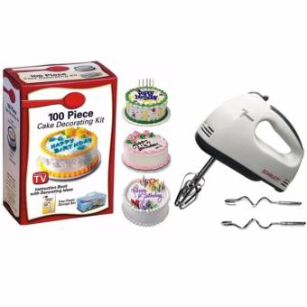 Cake Decorating Kit 100-piece Set with Scarlett HE-133 ProfessionalElectric Whisks Hand Mixer (White)