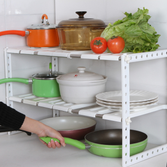 Can be retractable cabinet organizing rack kitchen shelf