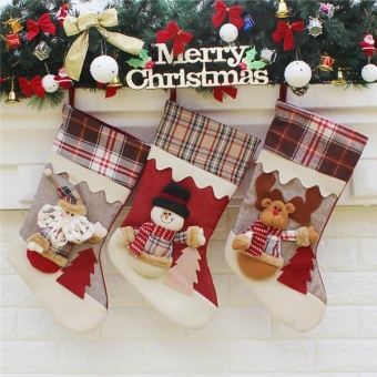 Candy Gift Bag New Year Christmas Stockings Socks Santa Claus XmasTree Decor Festival Party Ornament - intl