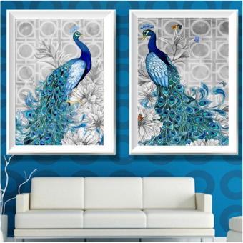 Candy Online 2 IN 1 Peacock DIY 5D Diamond Painting Cross StitchFull Drill Rhinestone Painting Decor (8002+8001) - 2