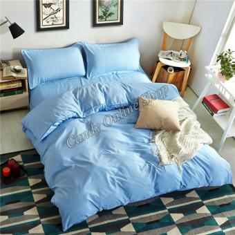 Candy Online Quilt Cover Pillow Bedsheet 4 Piece Bedding Set (LightBlue)