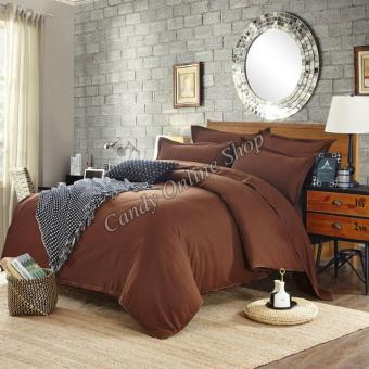 Candy Online Quilt Cover Pillow Bedsheet 4 Piece Bedding Set(Brown)