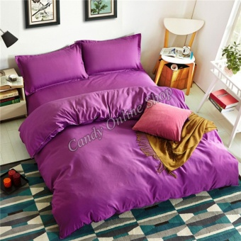 Candy Online Quilt Cover Pillow Bedsheet 4 Piece Bedding Set(Purple)