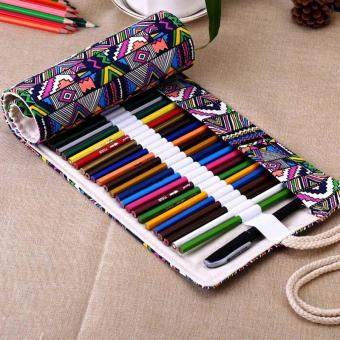Canvas Wrap Roll Up Pencil Bag Pen Case color:48 Holes - intl