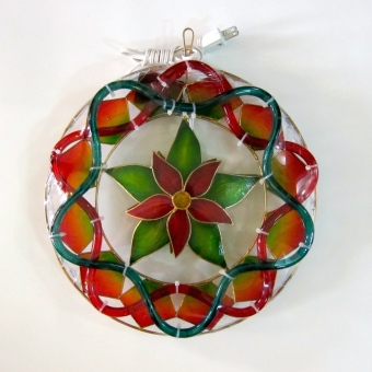 Capiz Christmas Lantern Poinsettia Design (Gold Trim)