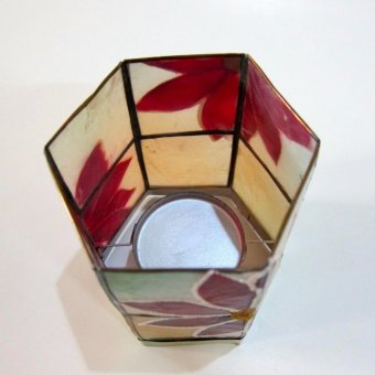 Capiz Hexagon Candle Holder Poinsettia Design - 3