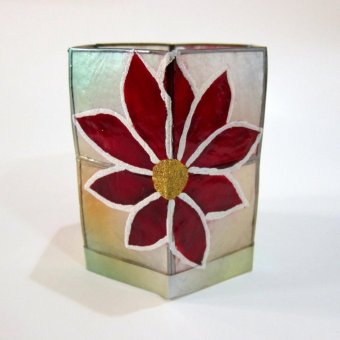 Capiz Hexagon Candle Holder Poinsettia Design