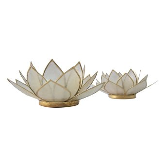 Capiz Lotus Candle Holder Set of 2 (Natural) - picture 2