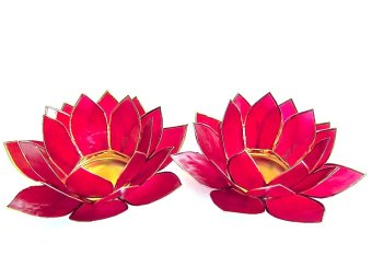 Capiz Lotus Candle Holder Set of 2 (Red) Price Philippines