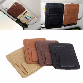 Car Sun Visor Pocket Organizer Pouch Bag Card Pen Glasses StorageHolder(Black) - intl