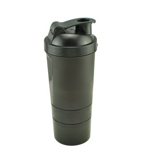 Carejoy Protein Shaker Three Layers of Blender Mixer 500-600ml(Black)