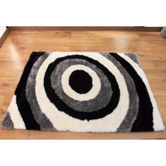 Carpetier Concepts - 3D Vortex Design. Black White Grey. Shaggybedroom table carpet home decor rug - 2