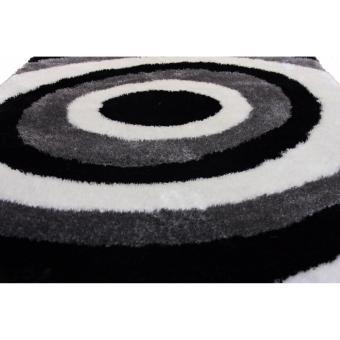 Carpetier Concepts - 3D Vortex Design. Black White Grey. Shaggybedroom table carpet home decor rug - 5