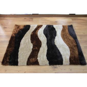 Carpetier Concepts - 3D Waves design. Black, Brown, Beige. Shaggybedroom table carpet home decor rug - 2