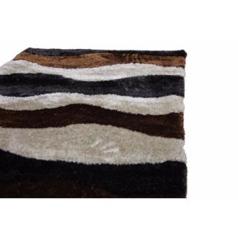 Carpetier Concepts - 3D Waves design. Black, Brown, Beige. Shaggybedroom table carpet home decor rug - 5