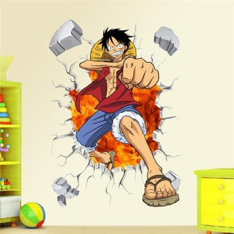 Cartoon anime poster Luffy Broken wall 3d effect wall stickers for kids rooms Wall decals One Piece Posters kids Gift Mural - intl - 3