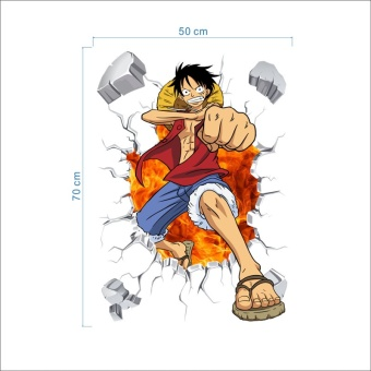 Cartoon anime poster Luffy Broken wall 3d effect wall stickers for kids rooms Wall decals One Piece Posters kids Gift Mural - intl - 5