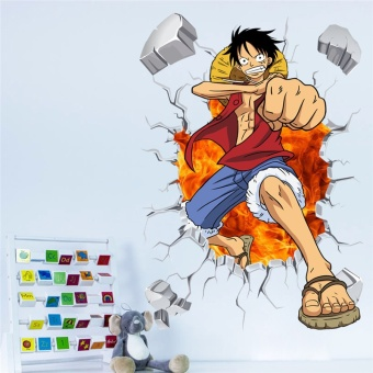 Cartoon anime poster Luffy Broken wall 3d effect wall stickers for kids rooms Wall decals One Piece Posters kids Gift Mural - intl - 2