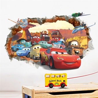 Cartoon Car Wall Stickers for kids Room Children Boy Bedroom Wall Decals Window poster wall sticker Poster Kids Gift Home Decor - intl