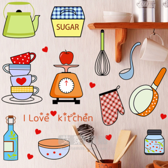 Cartoon kitchen cabinet kitchen wall adhesive paper wall stickers