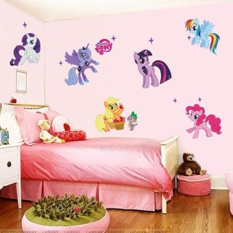 Cartoon Little Pony Wall Stickers for Kids Rooms Wall Decals GirlsBoys Children Nursery Baby Room Decor Wallpaper Mural Gift