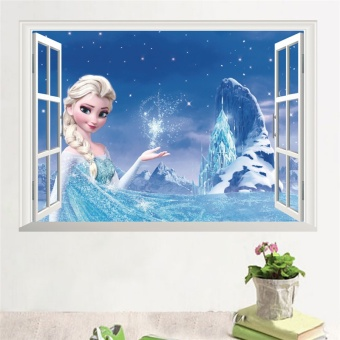 Cartoon Movie Film Wall Stickers For Kids Rooms Elsa Anna WallDecals 3D Effect Window Girls Room Decor Mural Wall Art Poster -intl Price Philippines