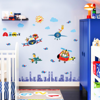 Cartoon self-adhesive children's room nursery wall adhesive paper Bizhi