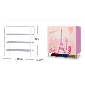 Cartoon style Romantic Paris Stackable 4-Layer Shoe Rack (pink)) Price Philippines