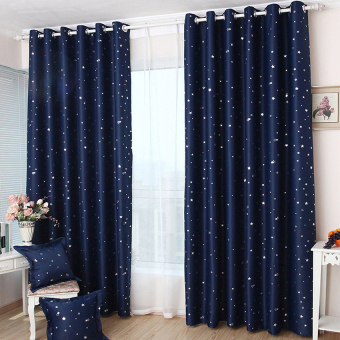 CatWalk 1Pcs Blackout Star Pattern Curtain 100*130cm (Navy Blue) - intl
