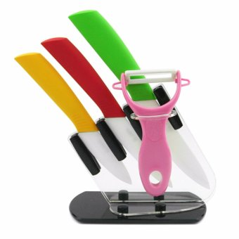 Ceramic Knife (Multicolor) Set of 3 with Peeler