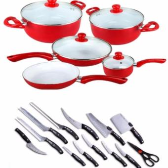 Ceramic Pan 9-piece Set (Red) Bundle with Miracle Blade 13-PieceSet
