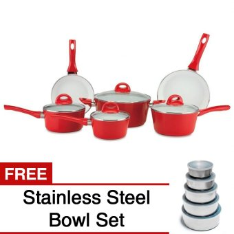 Ceramic Pan 9-piece Set (Red) with FREE Stainless Steel Bowl Set