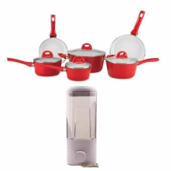 Ceramic Pan Set of 9 (Red) with F7019-1W 1 Compartment SoapDispenser 500ml (White)