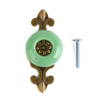 Ceramic Round Pull Handle Knob (Green)