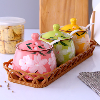 Ceramic seasoning box seasoning containers
