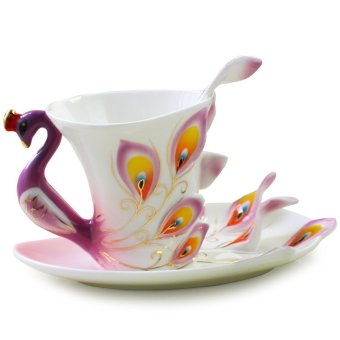 Ceramic Tea Cup Set European Peacock Coffee Cup 180ml (Purple)
