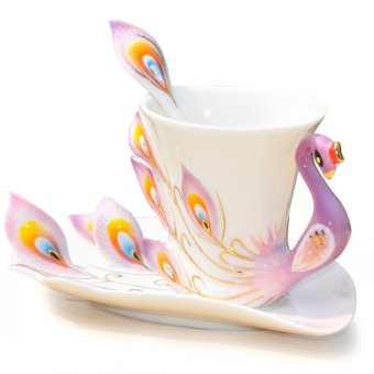 Ceramic Tea Cup Set European Peacock Coffee Cup 180ml (Purple) - 2