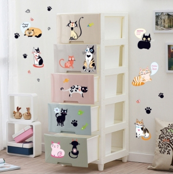 Children's room cat cabinet wardrobe bedside backdrop wall adhesive paper