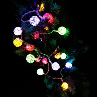 CHINCOLOR RGB Warm White Led string light 2M 20LEDs powered by AAbattery Rattan Ball Holiday for Christmas Wedding Party Curtain XR- intl - 3