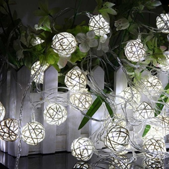 CHINCOLOR RGB Warm White Led string light 2M 20LEDs powered by AAbattery Rattan Ball Holiday for Christmas Wedding Party Curtain XR- intl