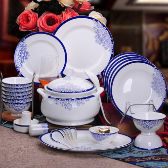 Chinese-style Jingdezhen Blue and White Porcelain Bowls and Dishes Set
