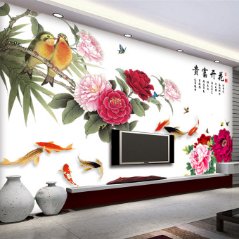 Chinese-style living room bedroom wall decoration wallpaper wall sticker