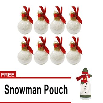 Christmas Ball Set of 8 (White) with free Snowman Pouch