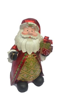 Christmas Chubby Santa Claus with Gift Figurine for the Holiday (Made of Fiberglass Resin) by Everything About Santa (Christmas decoration and gift suggestion)